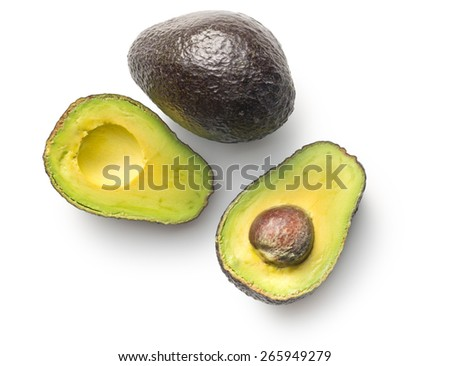 halved avocado on white background - stock photo