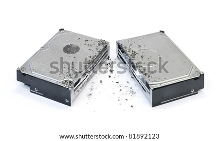 halved hard disk drive on white background - stock photo