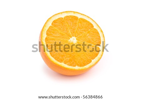 Halved orange isolated on white with shadow