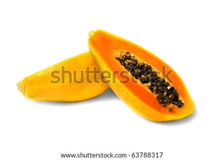 halved papaya fruit isolated on white background - stock photo