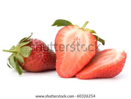 Halved strawberries isolated on white background