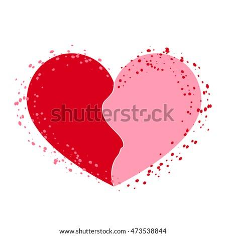 Halves Heart Icon Two Half Puzzle Stock Illustration 473538844