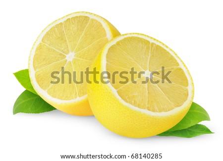 Halves of lemon isolated on white - stock photo