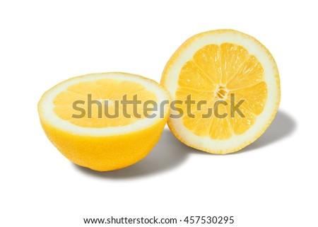 Halves of lemon on white background - stock photo