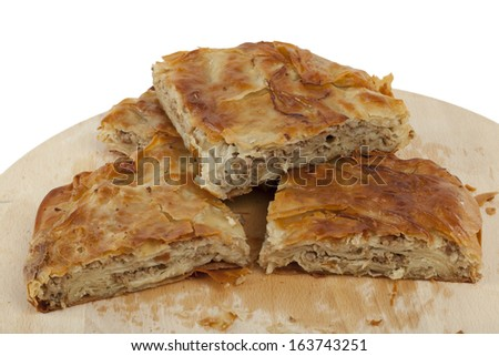 ham and cheese pie on white background