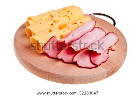 Ham and cheese rolls on wooden desk isolated over white background.