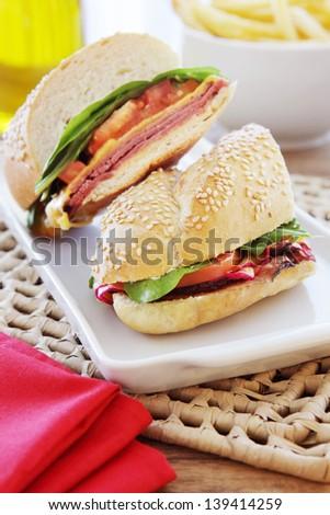Ham and cheese salad  sandwich - stock photo