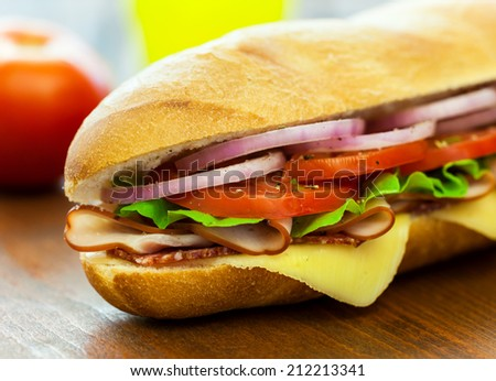 Ham and Cheese Sandwich - stock photo