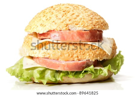Ham and cheese sandwich against white background