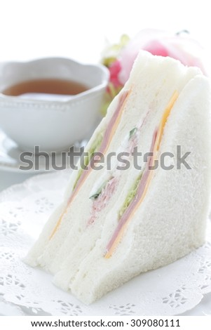 ham and cheese sandwich and english tea