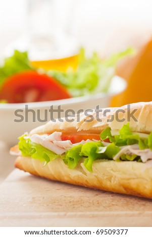Ham and cheese sandwich with lettuce and tomato. - stock photo