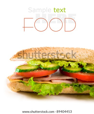 Ham and cheese sandwich with lettuce and tomatoes, isolated on white - stock photo