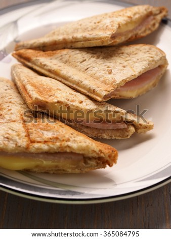 Ham and Cheese sandwich with whole wheat bread - stock photo