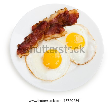 ham and eggs on a plate isolated - stock photo