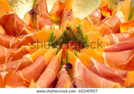 ham and melon - stock photo