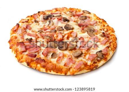 ham and mushroom pizza on white - stock photo