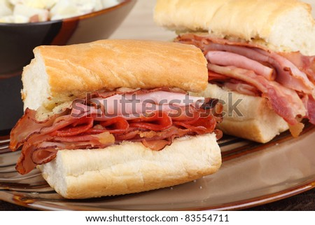 Ham and pepperoni on french bread sandwich