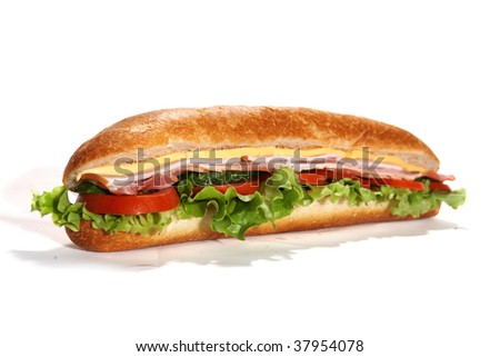 ham and salami sub sandwich on white background