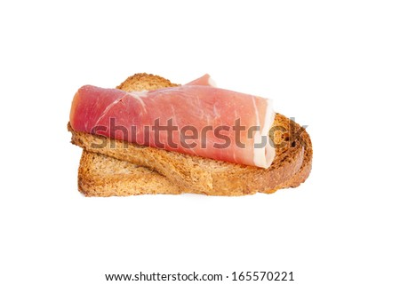 ham and slice of bread isolated on white background
