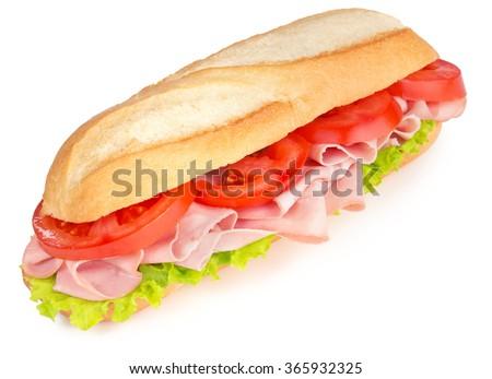 ham and tomato sandwich isolated on white background - stock photo