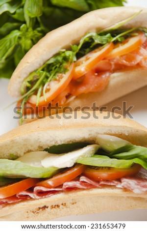 Ham and Tomato Sub Sandwich - stock photo