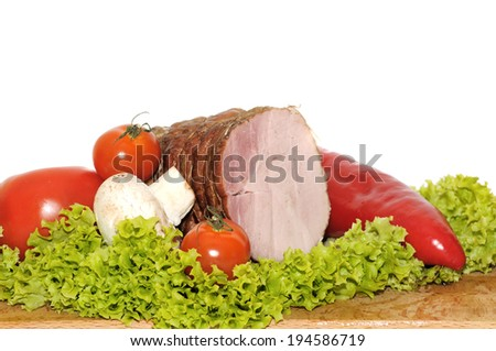 Ham and vegetables. - stock photo