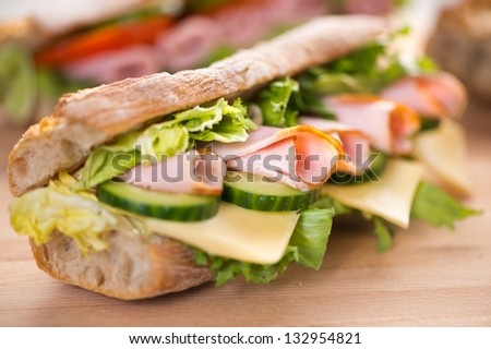 Ham and vegetables sandwich