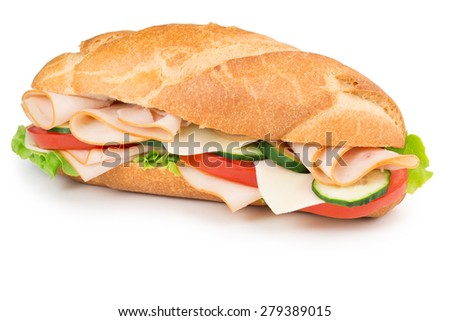 ham and vegetables sandwich isolated on white - stock photo