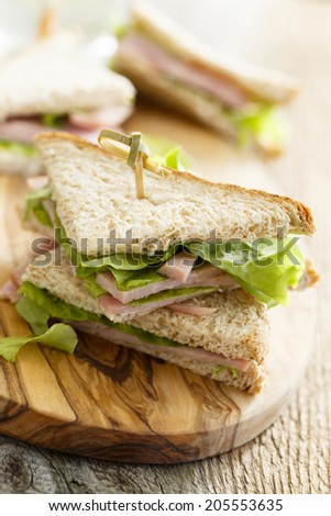 Ham, butter and green salad sandwiches