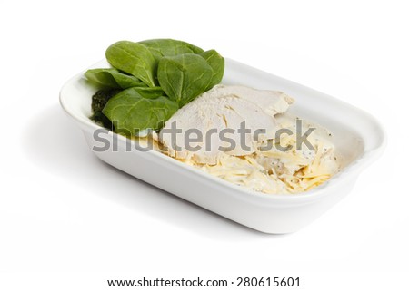 Ham, cheese and spinach in a bowl on a white isolated background - stock photo