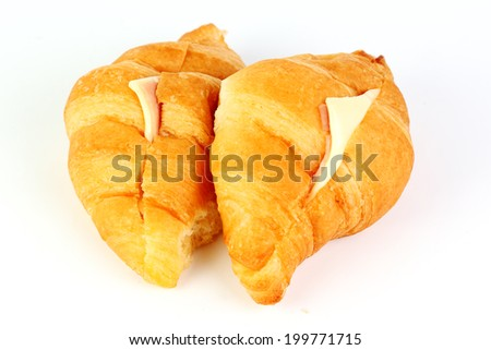 Ham Cheese croissant isolated on white background