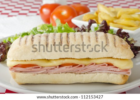 Ham & Cheese Toastie - Cheese, ham and tomato toasted panini served with salad and chips on a red and white gingham background.