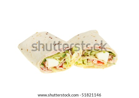 Ham egg and salad filed bread wraps