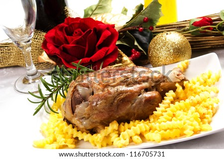 ham hocks with fries on the table the day of christmas - stock photo