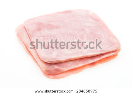 Ham meat isolated on white background
