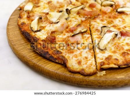 ham mushroom pizza  - stock photo