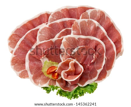 ham on white background - stock photo