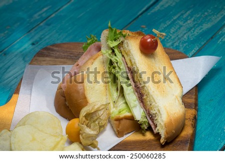 Ham salad sandwich serving with potato chips on wood plate - stock photo