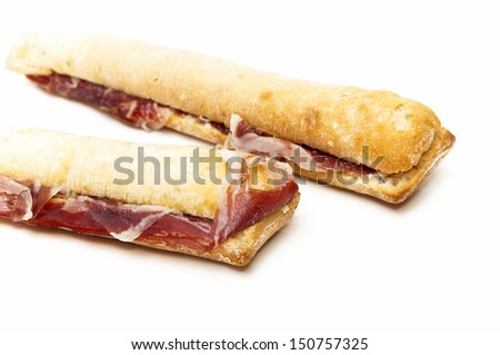 Ham sandwich on a white background
