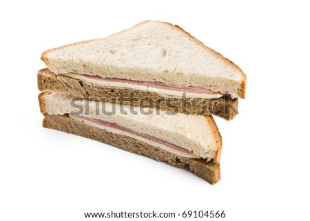 ham sandwich on white background - stock photo