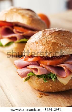 ham sandwich with roll bread - stock photo