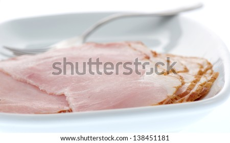 Ham slices on a plate