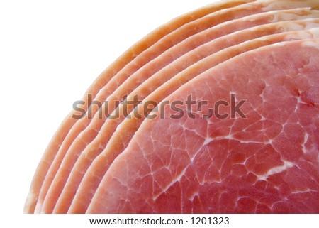 Ham slices on white background ISOLATED - stock photo