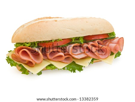 Ham & swiss cheese sandwich with lettuce and tomatoes, isolated on white
