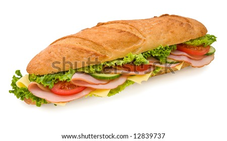 Ham & Swiss 12 inch submarine sandwich isolated on white - stock photo