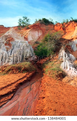 Ham Tien canyon in Vietnam, small stream carving through the sand