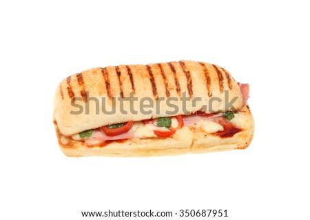 Ham, tomato, Mozzarella cheese and basil panini isolated against white - stock photo