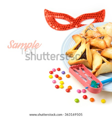 Hamantaschen cookies for Jewish holiday Purim on white background - stock photo