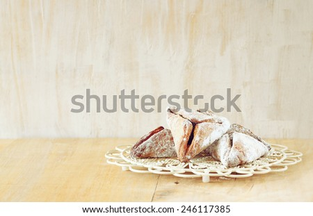 Hamantaschen cookies or hamans ears Purim celebration (jewish holiday). room for text - stock photo