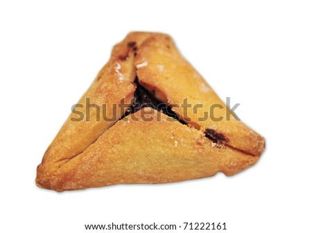 Hamantash, Ozen Haman a traditional Jewish cuisine, traditionally eaten during the Jewish holiday of Purim. isolated on white background  - stock photo